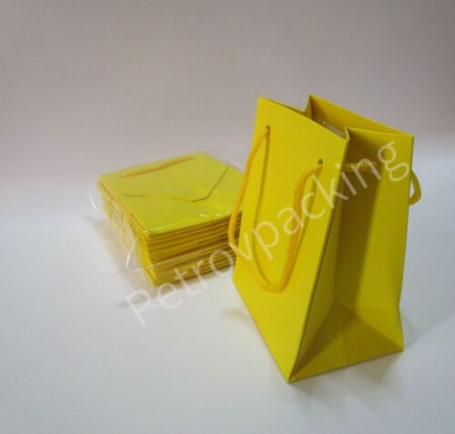 EXTRA SMALL YELLOW PAPER GIFT BAGS PK OF 10 HANDMADE