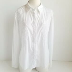 Armani-Jeans-Embroidered-Button-Up-Shirt-Womens-12-White-Brand-New-w-Tag-225
