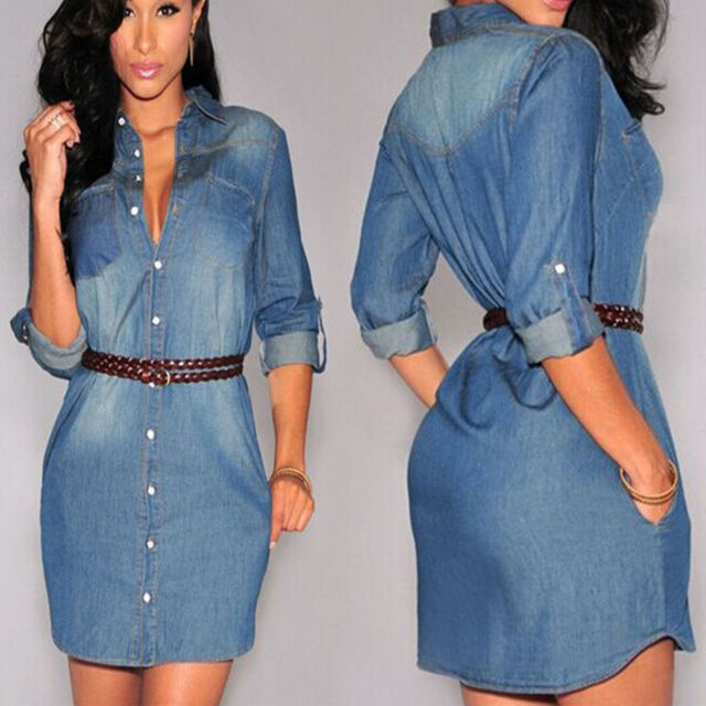Women Button Down Neck Long Sleeve Denim Short Mini Shirt Dress Long Tops Blouse