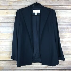 Doncaster-Womens-Blazer-Wool-Stretch-Textured-Open-Front-Pockets-Navy-Blue-8