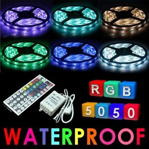 5M-SMD-RGB-5050-Waterproof-300-LED-Strip-Light-44-Key-Remote-12V-5A-Power-Lot