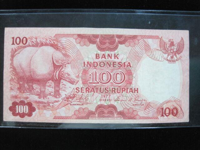Indonesia 100 Rupiah 1977 Rhino 24# Bank Currency Money Banknote