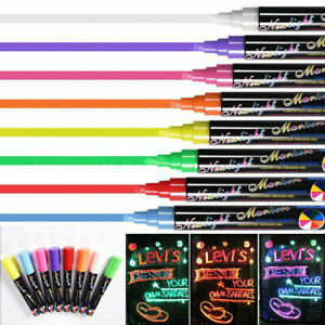 Details About 8 Pcs Dual Nib Neon Liquid Chalk Pen Marker Blackboard Glass Window Menu Pencil
