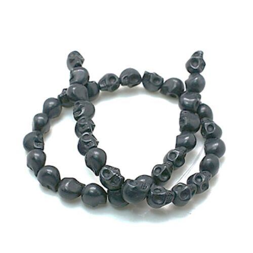 1 x Strand Synthetic Howlite Black Skull Beads 49 Pieces