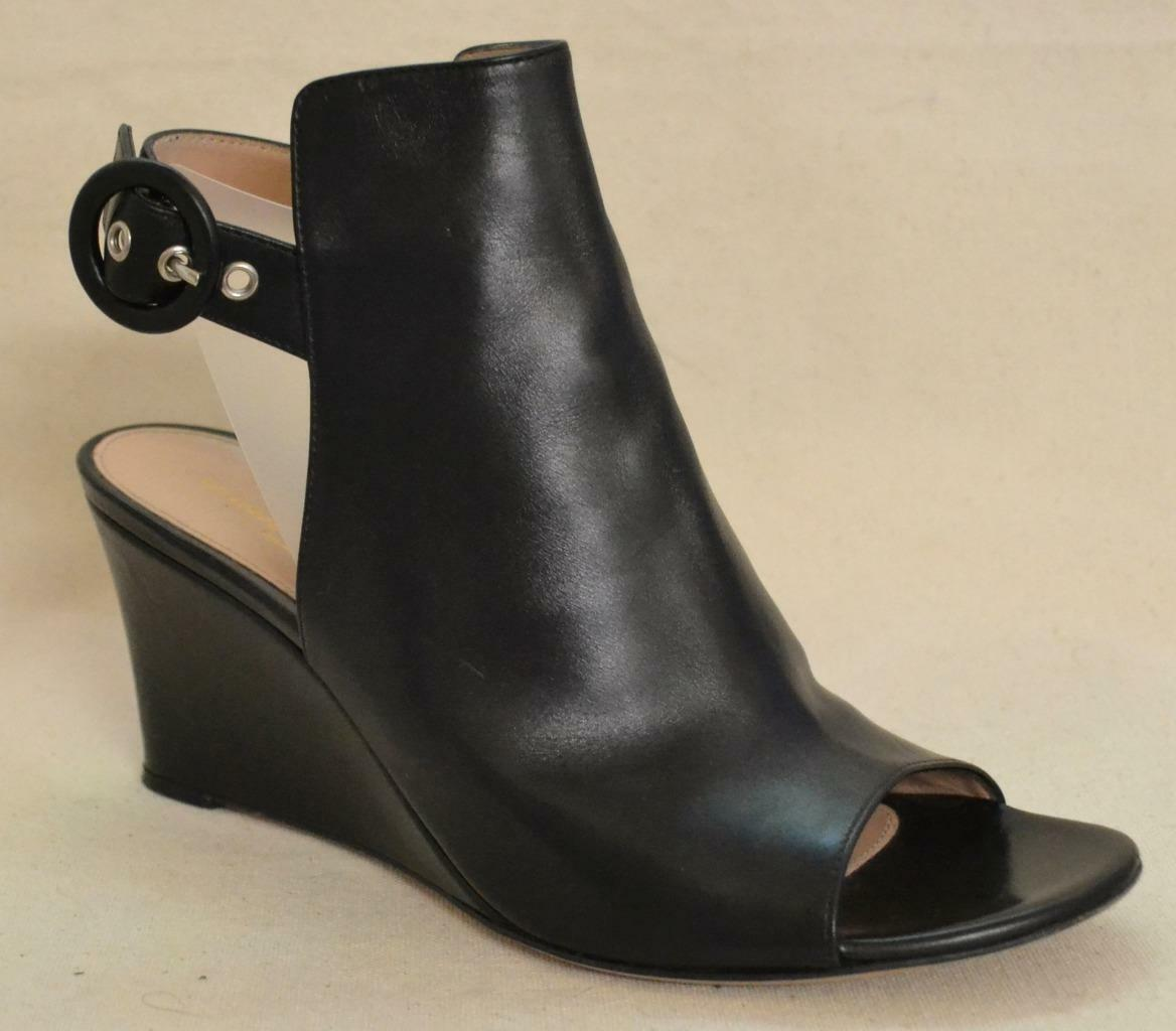 Gianvito Rossi Black Leather Wedge shoes Size 36.5 - US size 6.5