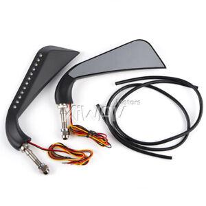 KiWAV LED Turn Signal Running Light Axe Mirror - Black