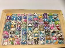 25 Pc Wholesale Lot Random Mix Womens Girls Rings Crystals Resale Vintage Style
