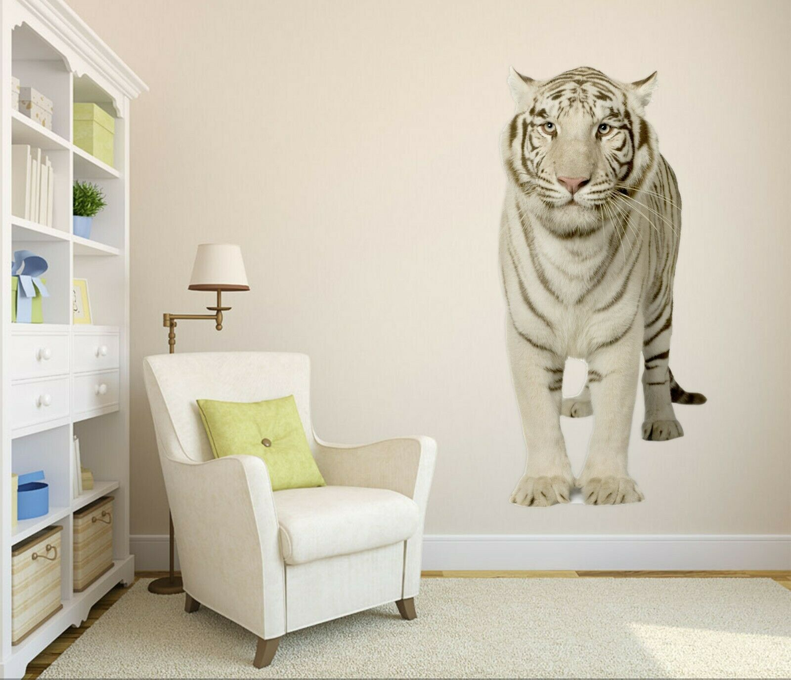 3D bianca Tiger P91 Animal Wallpaper Mural Self-adhesive Removable Zoe