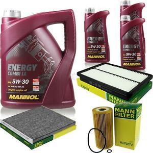 Inspektionspaket-Filter-Set-5W30-Motoroel-fuer-Hyundai-Grand-Santa-Fe-DM