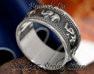 SIZE-11-Finely-Made-Solid-Sterling-Silver-New-Unisex-Elephants-Men-Ring-R-203