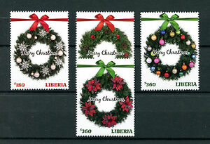 Liberia 2016 Christmas Wreaths Decorations Ornaments 4v Set Stamps