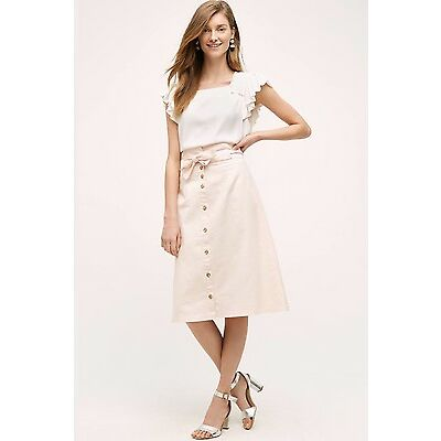 NEW $148 Anthropologie Peach Blossom Skirt Size Large