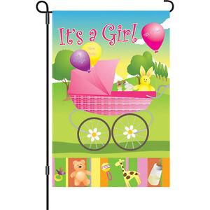 Its-a-Girl-Baby-Carriage-Bunny-Giraffe-Bear-Balloons-Garden-Flag-18-034-x-12-034
