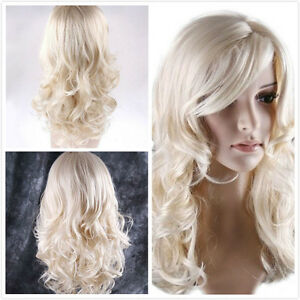 Vogue-Women-Blonde-Party-Hair-Long-Curly-Wigs-Cosplay-Party-Full-Fashion-Wig-Cap
