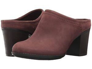 NEW-Clarks-Enfield-Sandy-Clog-Shoes-Mahogany-Leather-Women-Size-9-5-M-95