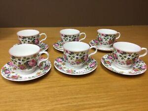 Victoria-Secret-England-porcelain-Fine-China-Cup-amp-Saucer-6-Sets-Excellent