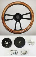 60-69 Chevy Pick Up C10 Truck Steering Wheel Alder Wood With Black Spokes 14