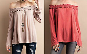 Womens-Beige-Taupe-Rust-Boho-Off-Shoulder-Peasant-Bell-Sleeve-Tunic-T-Shirt-Top