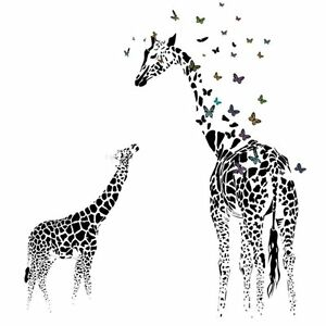 Image Is Loading Giraffe Butterfly Wall Sticker For Living Room Decor
