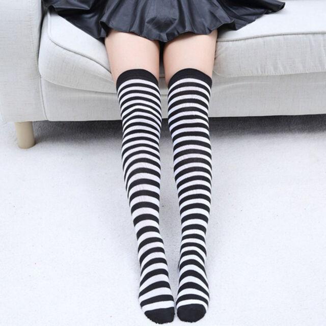 48f5b4bbb 1pair Black White Striped Thigh High Over The Knee Socks Long Socks  Stockings for sale online