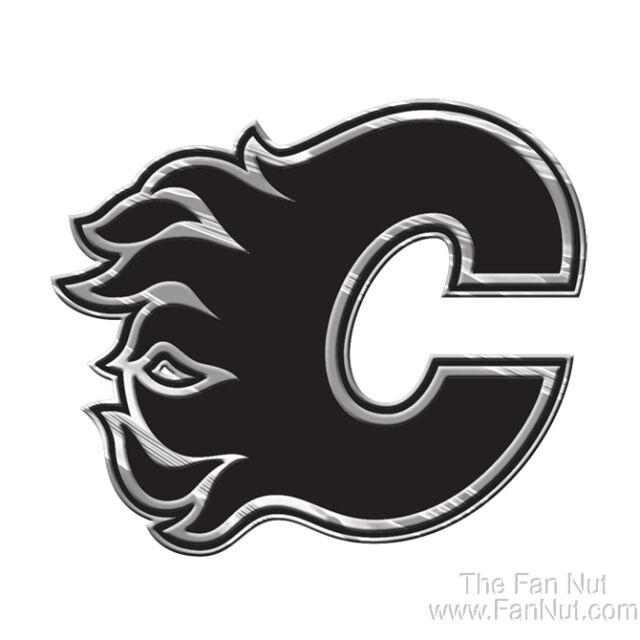 Calgary Flames Silver Chrome Colored Raised Auto Car Emblem Decal Nhl Hockey For Sale Online Ebay