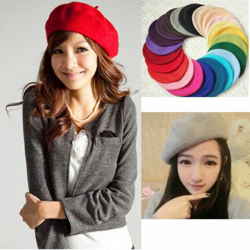 19 Colors Vintage Solid Warm Wool Womens Beret French Style Beanie Hat Ski Caps