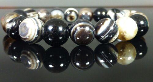 Black Sardonyx Bracelet Therapeutic Gemstone Banded Agate