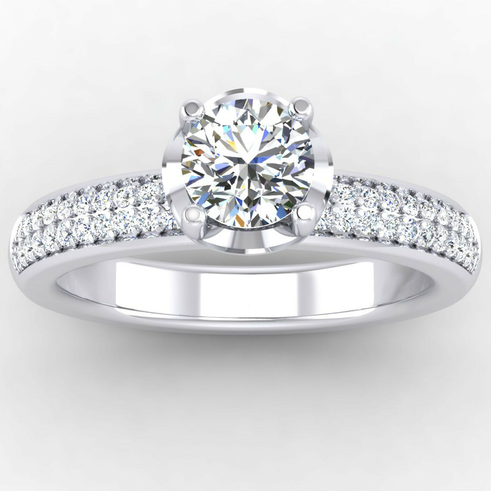 0.76 Ct Real VS1 Diamond Engagement Ring Round Cut 14K Solid White gold Size 8