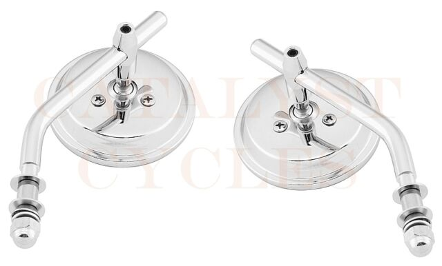 """3"""" Round Bolt-On Mirror Set for Harley Round Mirrors with Adjustable Stems"""