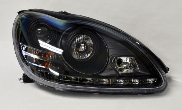 Mercedes S Class W220 00-06 Projector LED DRL Headlights Black PAIR RH LH