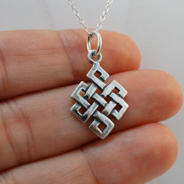 Celtic Knot Necklace - 925 Sterling Silver - Irish Celtic Knot Twist Charm NEW