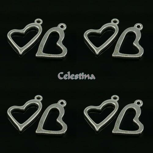 Offset Open Heart Charms  LF CF 20 mm x 11mm 30 x Bright Silver TS345