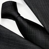 36092 LORENZO CANA Luxus Krawatte Karo reine Seide Schwarz Grau Anthrazit