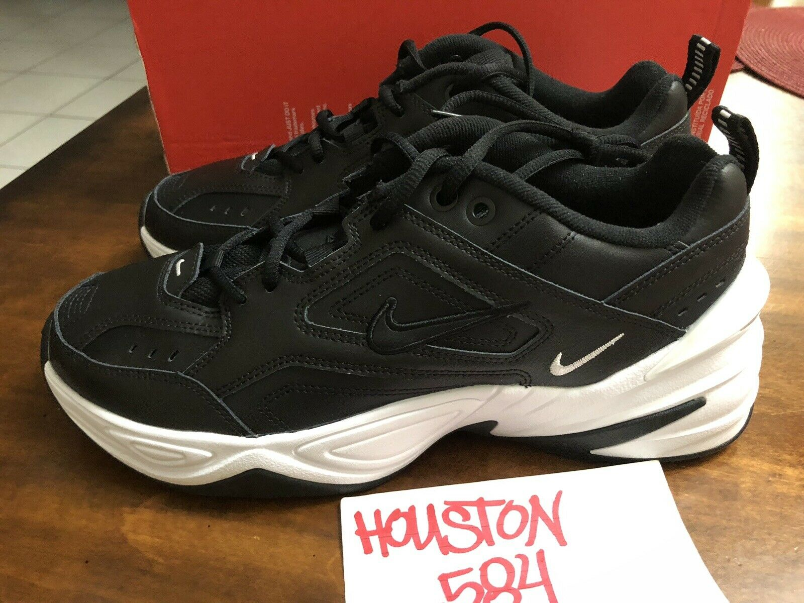 WOMEN'S NIKE M2K TEKNO Sz10.5 BLACK WHITE AO3108-005 PLATFORM Dad shoes CLASSIC