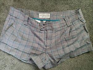 Para Mujer Aeropostale Gris A Cuadros Con Puno Elastico De Algodon Pantalones Cortos Tamano 11 12 Ebay