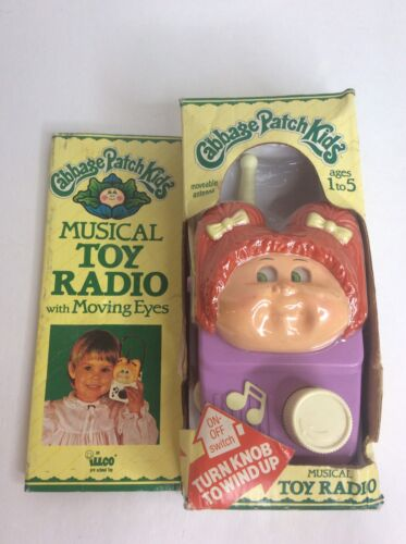 1984 Cabbage Patch Kids Musical Toy Radio Moving Eyes Wind Up Toy Music Box RARE