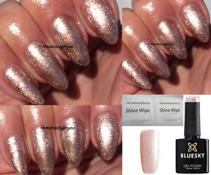 BLUESKY-GEL-POLISH-PINK-GOLD-SHIMMER-CHIFFON-TWIRL-80589-NAIL-UV-LED-SOAK-OFF