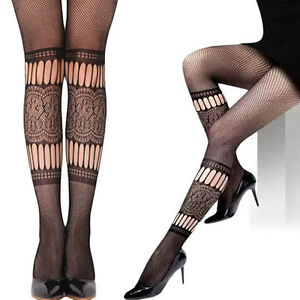 Black Gothic Cutout Criss Cross Patterned Thigh Highs Stockings Costume Tight OS
