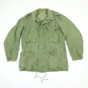 Vtg-60s-M-65-Hooded-Field-Coat-Jacket-M-Nicely-Faded-Army-Green-Military-Rambo