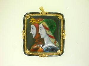 ANTIQUE-18K-GOLD-AND-ENAMEL-LARGE-BROOCH-PENDANT-OF-DANTE-AND-BEATRICE-THE-BEST