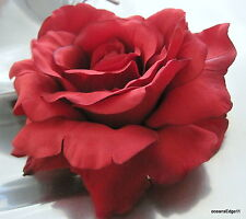 "RED ROSE CORSAGE 4.5-5/"" pin Hair Clip alligator  BLACK BROWN Fine"