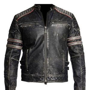 Vintage Leather Jacket >> Details About Mens Biker Vintage Motorcycle Distressed Black Retro Leather Jacket