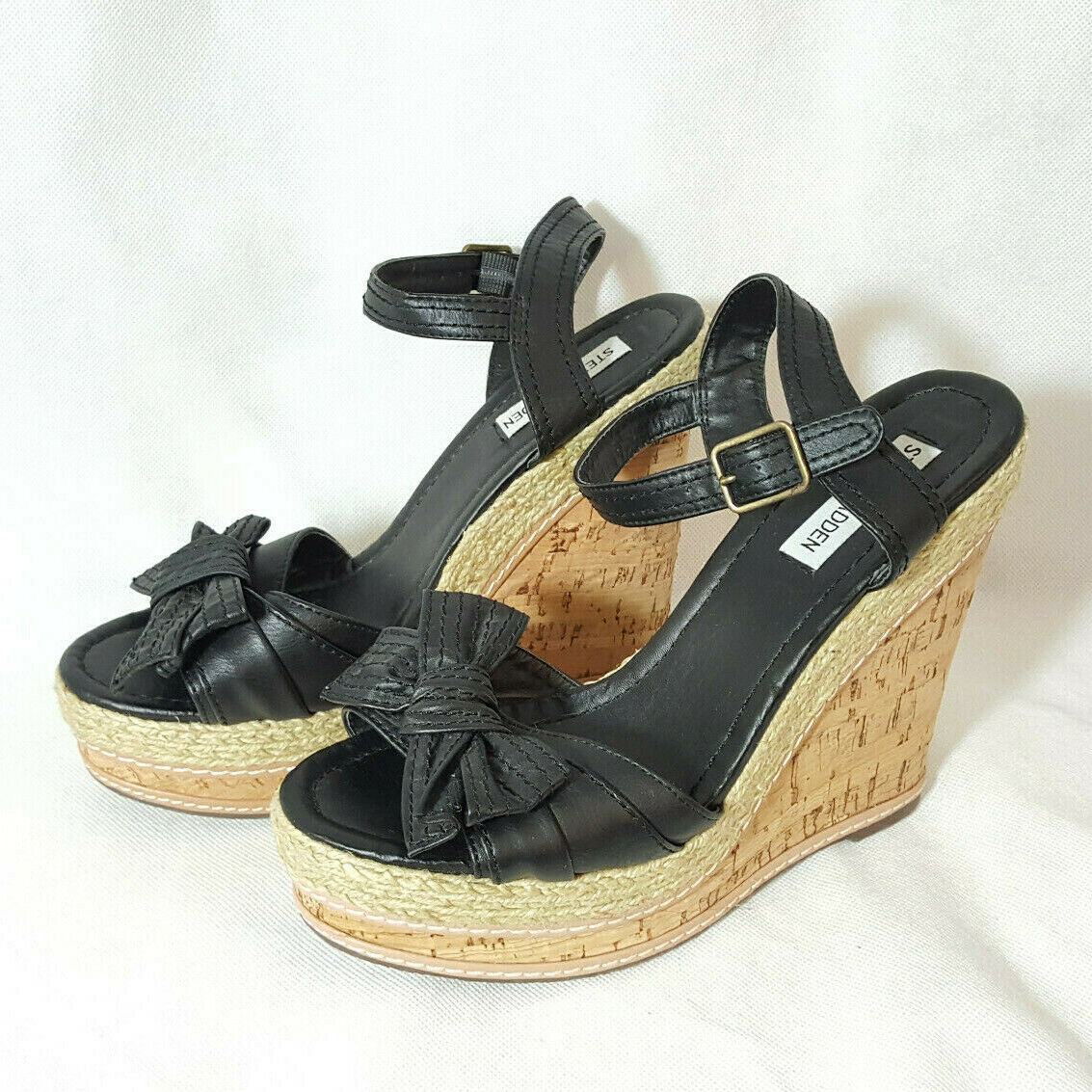 NEW Steve Madden Platform Wedge Sandal Sz 9 Black Ankle Strap Bow