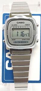 Casio-LA-670WA-7D-Ladies-Digital-Watch-Steel-Band-Stainless-Silver-Alarm-Classic