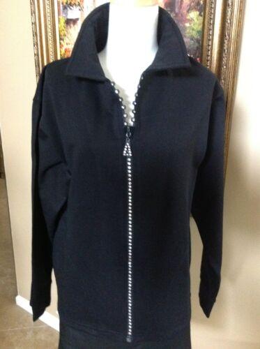 Rhinestone Crystal Zipper Fleece Cardigan Jacket with Collar