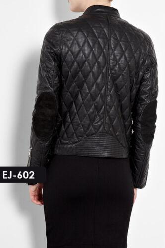 Genuine Soft Lambskin Leather Biker Quilted Jacket