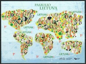 Lithuania 2018 MNH Lithuania of the World Self-adhesive stamps on souvenir sheet