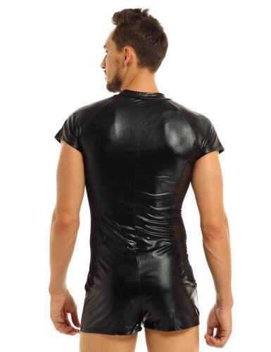 Männer Body Wetlook Kurzarm Bodysuit Overall Kurz Hose mit Reißverschluss M-XXXL