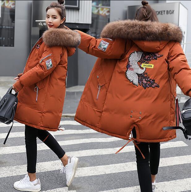 Womens Loose Fit Faux Fur Hooded Winter Long Parka Floral Down Cotton Coats U334
