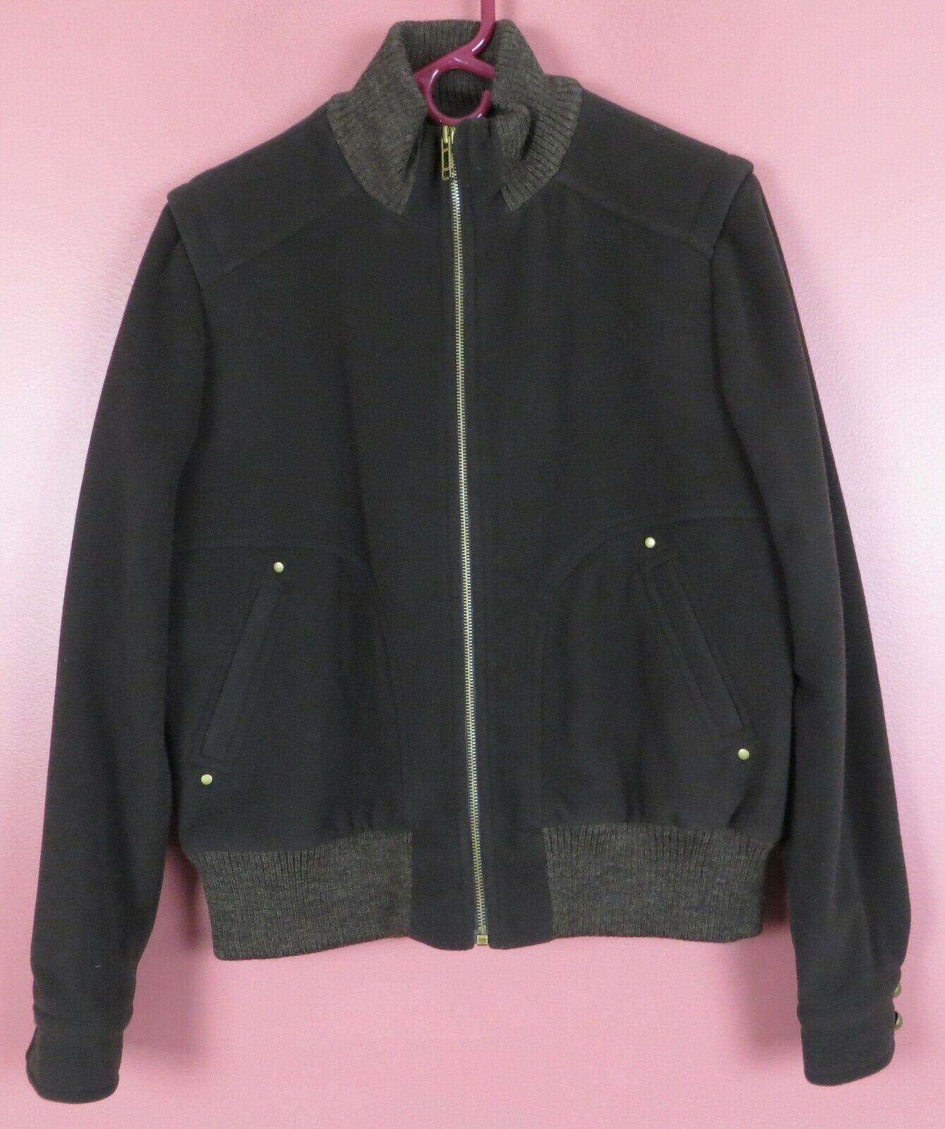 CJ0761- TALBOTS Women's 70% Wool 10% Cashmere Flannel Jacket Thick Warm Brown L